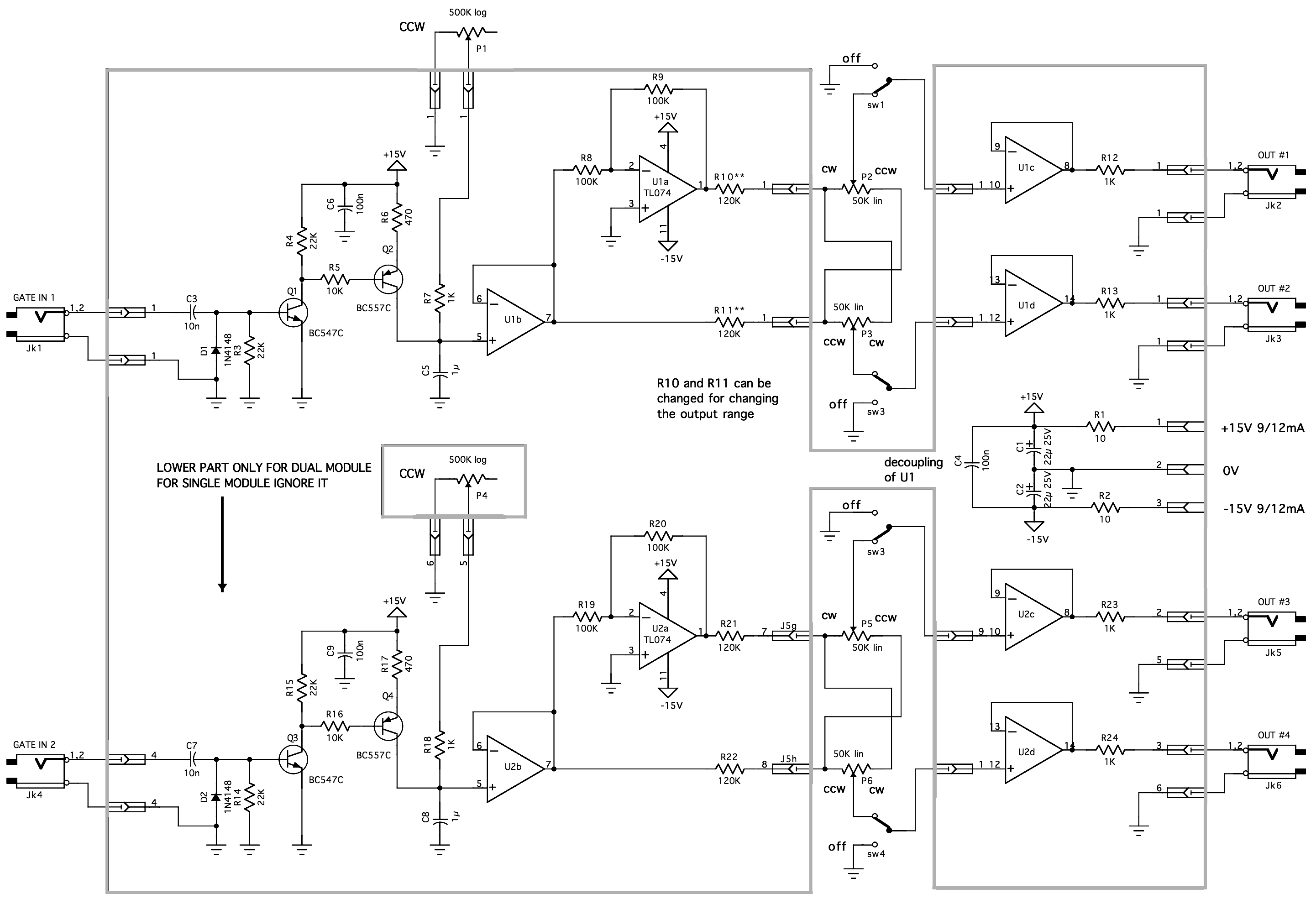 Clock Divider 4017 Circuit Diagram How It Works Channel 1 The Input Signal Is Applied To A Schmitt Trigger Q1 Q2 Which Converts Signals Proper Logical Level 0v Or 15v